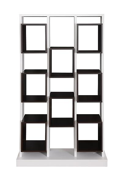 Furniture of America Baux Multi-Tiered Display Case, White/Walnut