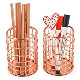 Superbpag Wire Metal Desktop Pencil Holder, Set of 2, Rose Gold (Color: Rose Gold)