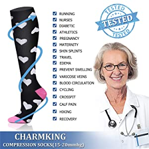 CHARMKING Compression Socks 15-20 mmHg is BEST Graduated Athletic & Medical for Men & Women Running, Travel, Nurses, Pregnant - Boost Performance Blood Circulation & Recovery(Large/X-Large,Assorted17) (Color: 08 Pink/Pink/Black/Black/Black/Black/Multi/Black, Tamaño: Large/X-Large (US Women 8-15.5/US Men 8-14))