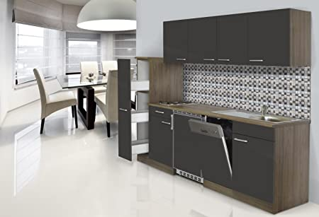 Respekta Recessed Kitchen Furniture 225 cm York Oak/Grey
