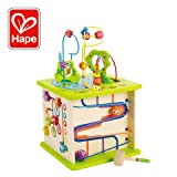 Country Critters Wooden Activity Play Cube by Hape | Wooden Learning Puzzle Toy for Toddlers, 5-Sided Activity Center with Animal Friends, Shapes, Mazes, Wooden Balls, Shape Sorter Blocks and More (Tamaño: 13.8 IN X 13.8 IN X 19.6 IN)