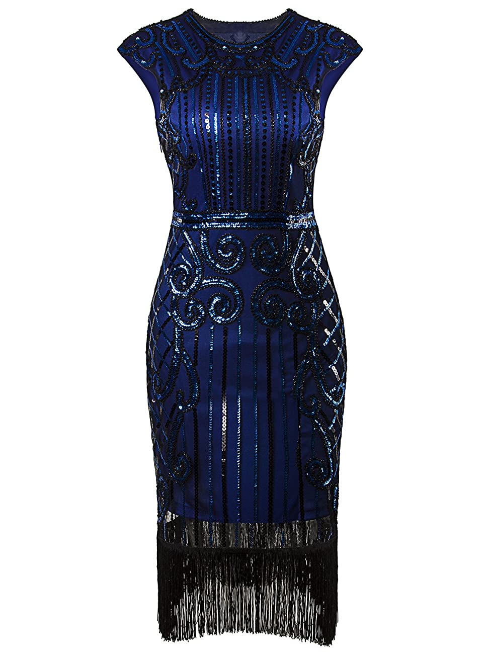 Vijiv 1920s Vintage Inspired Sequin Embellished Fringe Long Gatsby Flapper Dressblue 0