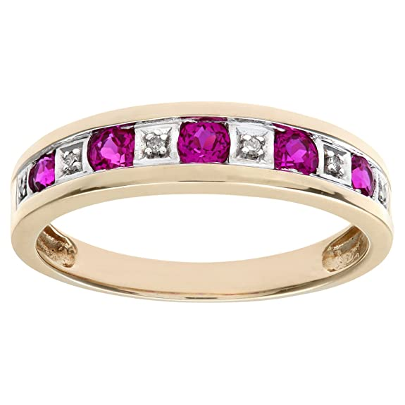 Naava Round Brilliant Ruby and Diamonds 9ct Eternity Ring