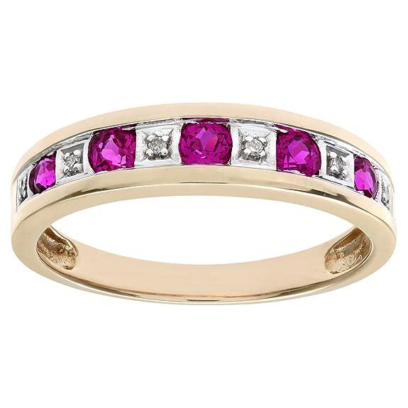 Naava Round Brilliant Ruby and Diamonds 9ct Eternity Ring