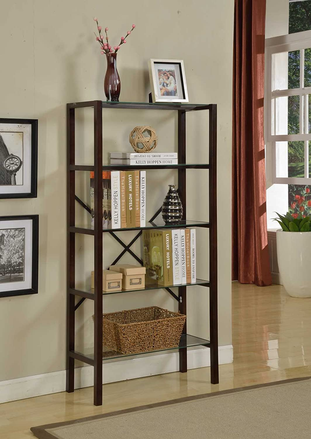 kings brand 5 tier chocolate finish wood with glass shelves metal cross bars ebay. Black Bedroom Furniture Sets. Home Design Ideas