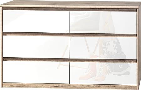 CS Schmalmöbel 75.185.147/14 Grifflose Kommode Soft Plus Smart Typ 14, 45 x 140 x 84 cm, sanremo hell/weiß hochglanz