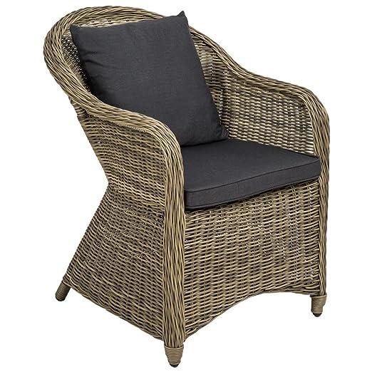 TecTake Poltrona seduta sedia da giardino in alluminio e polyrattan rattan con 2 cuscini