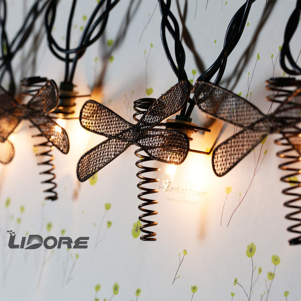 LIDORE Set of 10 Metal Dragonfly Patio String Light. Ideal For Indoor/Outdoor Decoration. Warm White Glow. 1