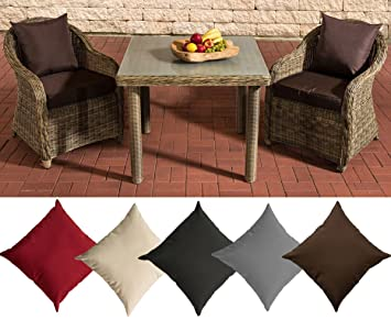 CLP Polyrattan Sitzgruppe SAN JUAN, natura, Milchglas, 3 Tischgrößen wählen (2 Stuhle INKL. bequemen Sitzauflagen + Esstisch) Kissenfarbe: Terrabraun, 100 x 100 cm