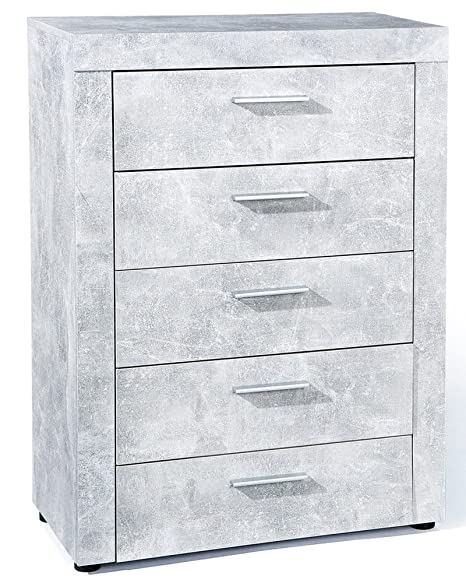 Commode coloris gris avec 5 tiroirs - Dim : 74 x 105 x 40 cm -PEGANE-
