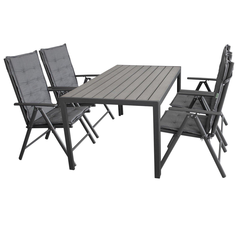 9tlg. Gartengarnitur Sitzgruppe Sitzgarnitur Gartenmöbel Terrassenmöbel Set Polywood 150x90cm grau + 4x Hochlehner, 2×2 Textilenbespannung, Lehne 7-fach verstellbar + 4x Stuhlauflage jetzt bestellen