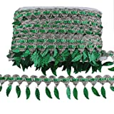 MELADY Pack of 10yards Sequins Leaves Hanging Tassel Lace Dance Clothing Accessories Fringe Trim (Green) (Color: green)