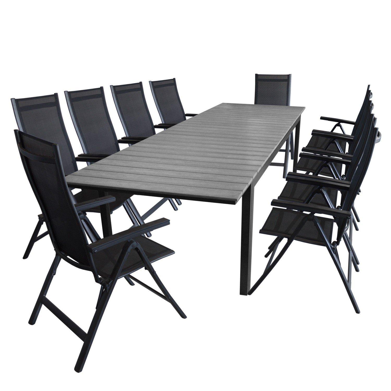 11tlg. Gartengarnitur Aluminium Polywood Gartentisch 280/220x95cm + 10x Hochlehner 4×4 Textilenbespannung Gartenstuhl – Gartenmöbel Sitzgarnitur Sitzgruppe kaufen