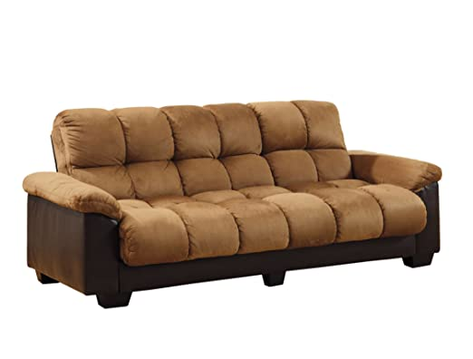 Furniture of America Penarth Microfiber and Leatherette Futon Sofa with Hidden Storage, Camel and Espresso