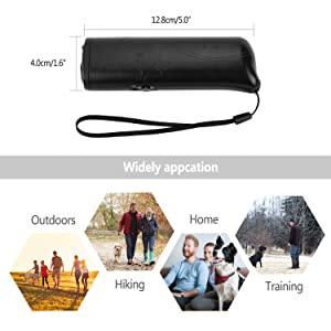 Anti Barking Stop Bark Handheld Pet Dog Training Device 3 in 1 LED Ultrasonic Dog Repeller and Trainer Device(Black)