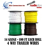 Trailer Light Cable Wiring For Harness 100ft spools 14 Gauge 4 Wire 4 Colors