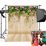 Mehofoto Wood Backdrops for Photography Printed Floral Wall Photo Background for Photo Studio Props Vinyl Wooden Floor Backdrop 5x7 (Color: Pink Floral, Tamaño: Vinyl-5x7FT)