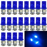 EverBright 20-Pack Blue T10 194 168 2825 W5W 5050 5-SMD LED Bulb For Car Replacement Interior Lights Clearance Wedge Dome Trunk Dashboard Bulb License Plate Light Lamp  DC 12V (Color: Blue, Tamaño: 1157 BAY15D 800Lums)