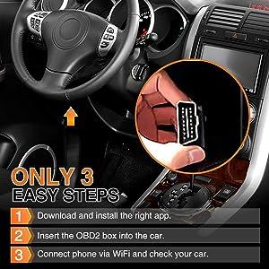 Audew Car WiFi OBDII Reader/Scanner,Wireless OBD2 Car Code Reader