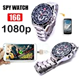 Hidden Camera Watch, HD 1080P Spy Camera Smart Wrist Watch with Built-in Memory Card (16GB), Portable Surveillance Camcorder Support for Voice Control And Lens-Shielded Design (Color: Stainless Wristband)