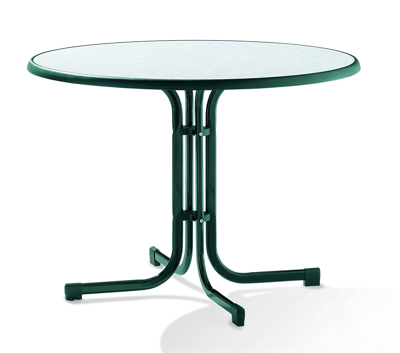 Sieger 136/S Boulevard-Klapptisch mit mecalit-Pro-Platte Ø 100 cm, Stahlrohrgestell smaragdgrün, Tischplatte Marmordekor weiß