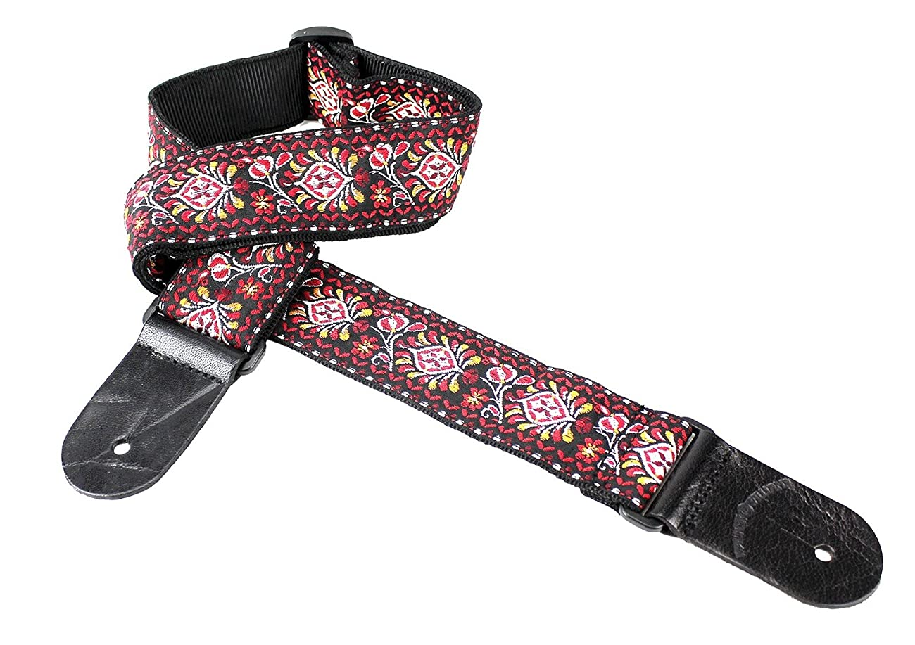 Walker & Williams H-22 Red Hendrix Woven 60's Style Hootenanny Hippie Guitar Strap 1