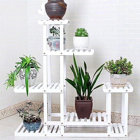Bastidores de flores blancas Bastidores de flores de madera maciza Bastidores de pisos de varios pisos Estantería de estilo europeo con múltiples carnes Balcón Salón Estante de flores de rábano verde