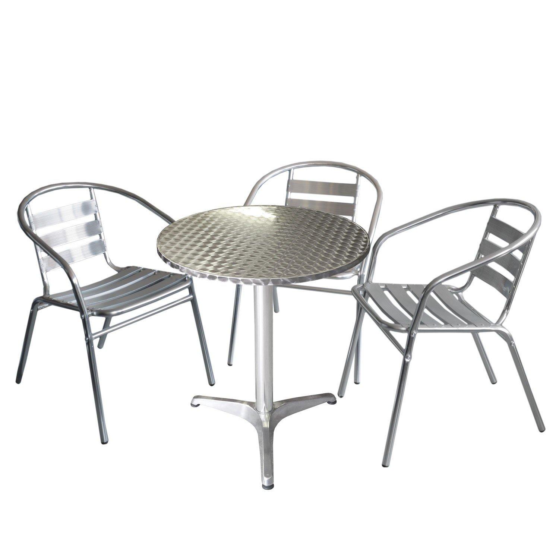 4tlg Bistrogarnitur - Aluminium Bistrotisch Ø60cm Alu Bistrostuhl Silber - Sitzgarnitur Sitzgruppe Gartenmöbel Bistro Set