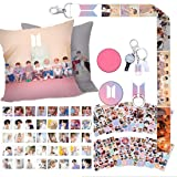 Fans Gift Set for Army - 40 Lomo Cards/12 Sheet Stickers/1 Pillow Case/1 Lanyard/1 Phone Holder/1 Keychain/2 Button Pins