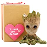 Groot Gifts for Kids, Groot Flowerpot Heart Kids Gift with Greeting Card, Groot Heart Planter Action Figures Pen Pot Holder,Grut Flower Pot Green Treeman Pencil Planter with Drainage Hole by Sgift (Color: Green, Tamaño: Heart-Shaped Groot)