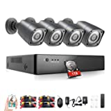 Rraycom 8CH 1080H 2.0MP Video Security Camera System DVR 1TB Hard Drive 4 2000TVL Weatherproof Cameras SMD LED Night Vision Distance 36M
