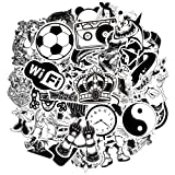 Waterproof Vinyl Stickers Bomb Laptop Skateboard Car Decals (50Pcs Black and White Style) (Color: 50Pcs Black and White Style, Tamaño: 2-3.5 inch)