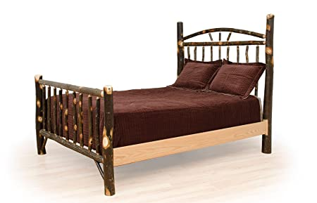 Rustic Hickory Wagon Wheel Bed - Twin Size- Amish Made