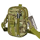 IronSeals Tactical Molle Pouch Compact EDC Utility Gadget Belt Waist Gear Bag with Cell Phone Holster Holder and Shoulder Strap for 4