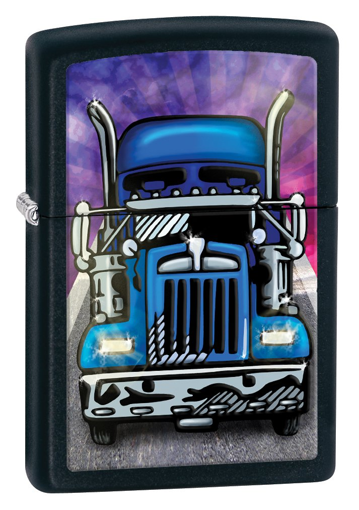 Zippo Matte Truck Head On Lighter (Black, 5 1/2x 3 1/2-Cm)