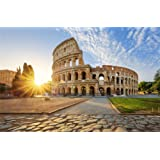 Leowefowa 9X6FT Luxurious Roman Colosseum Backdrop Nature Spring Backdrops for Photography Sunshine Blue Sky White Coud Square Outdoor Travel Theme Photo Background Lover Adults Studio Props (Color: GBK00561, Tamaño: 9x6ft)