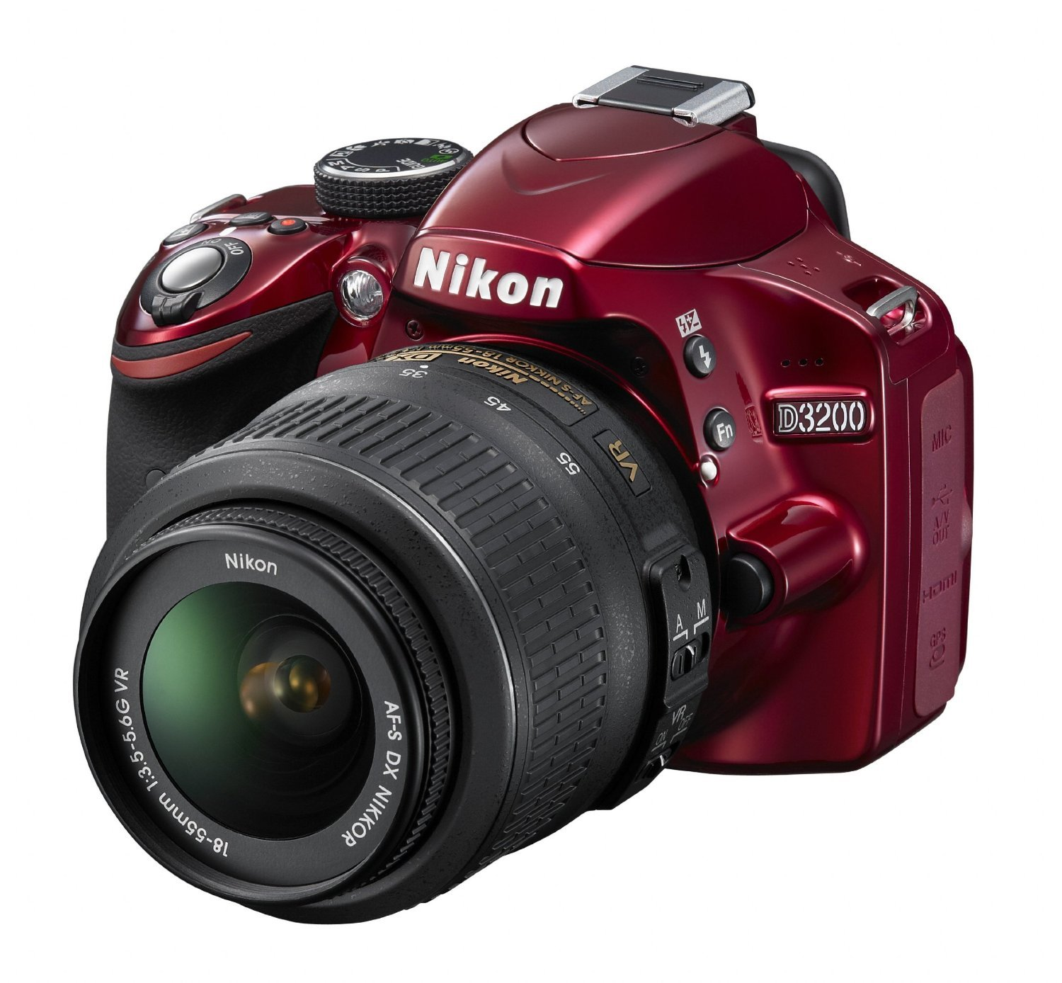 Nikon D3200 Digital SLR Camera & 18-55mm VR Zoom Lens (Red) - Certified Refurbished