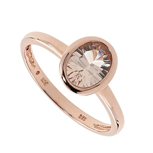 Sogni D 'oro Multi-Faceted Ladies Solitaire Ring 9ct Rose Gold 30x18 mm Gold 0.47ct Natural Morganite