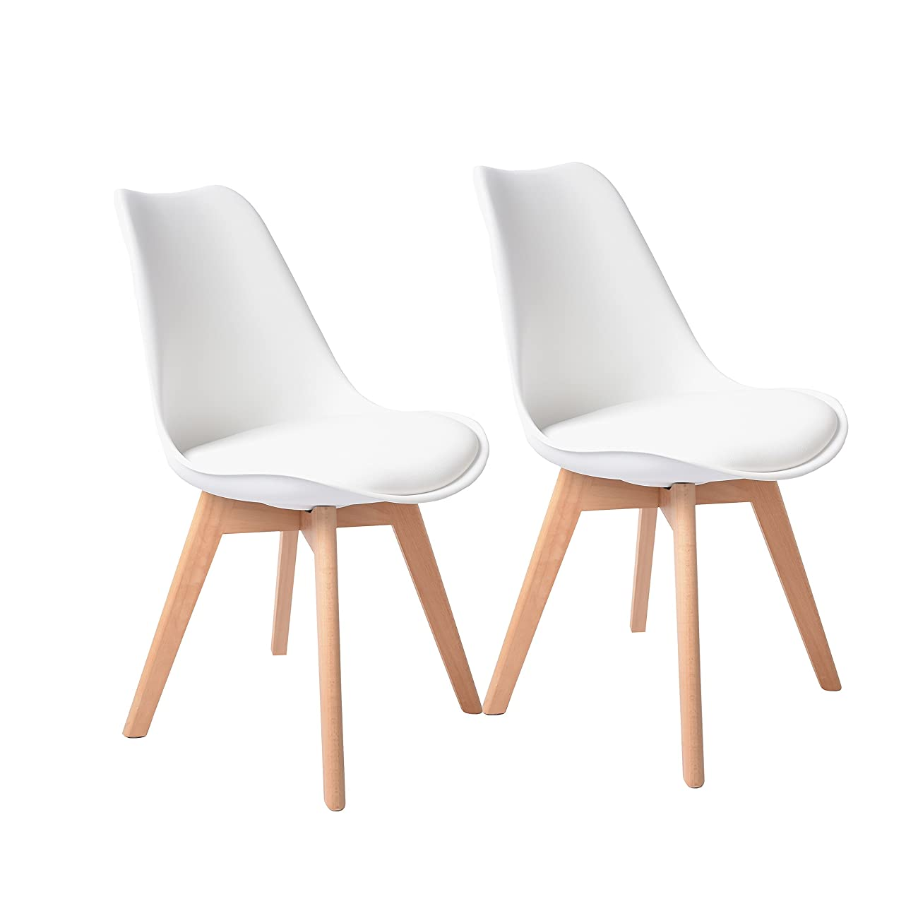 Buschman Set of Two White Eames-Style Mid Century Modern Dining Room Wooden Legs Soft Padded Chairs 0