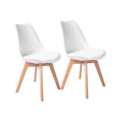 Buschman Set of 2 White Eames-Style Mid-Century Modern Dining Room, Wooden Legs, Soft Padded Chairs
