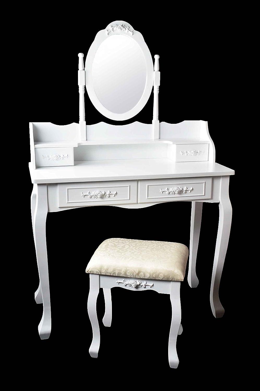 marry schminktisch frisiertisch kosmetiktisch mit spiegel hocker vintage wei. Black Bedroom Furniture Sets. Home Design Ideas
