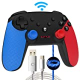 Momen Wireless Switch Pro Controller for Nintendo, Enhanced Dual Shock Gaming Gamepad Joypad with Nintendo Switch Gyro Axis- (Black- Blue-Red) (Color: b-blue-red)