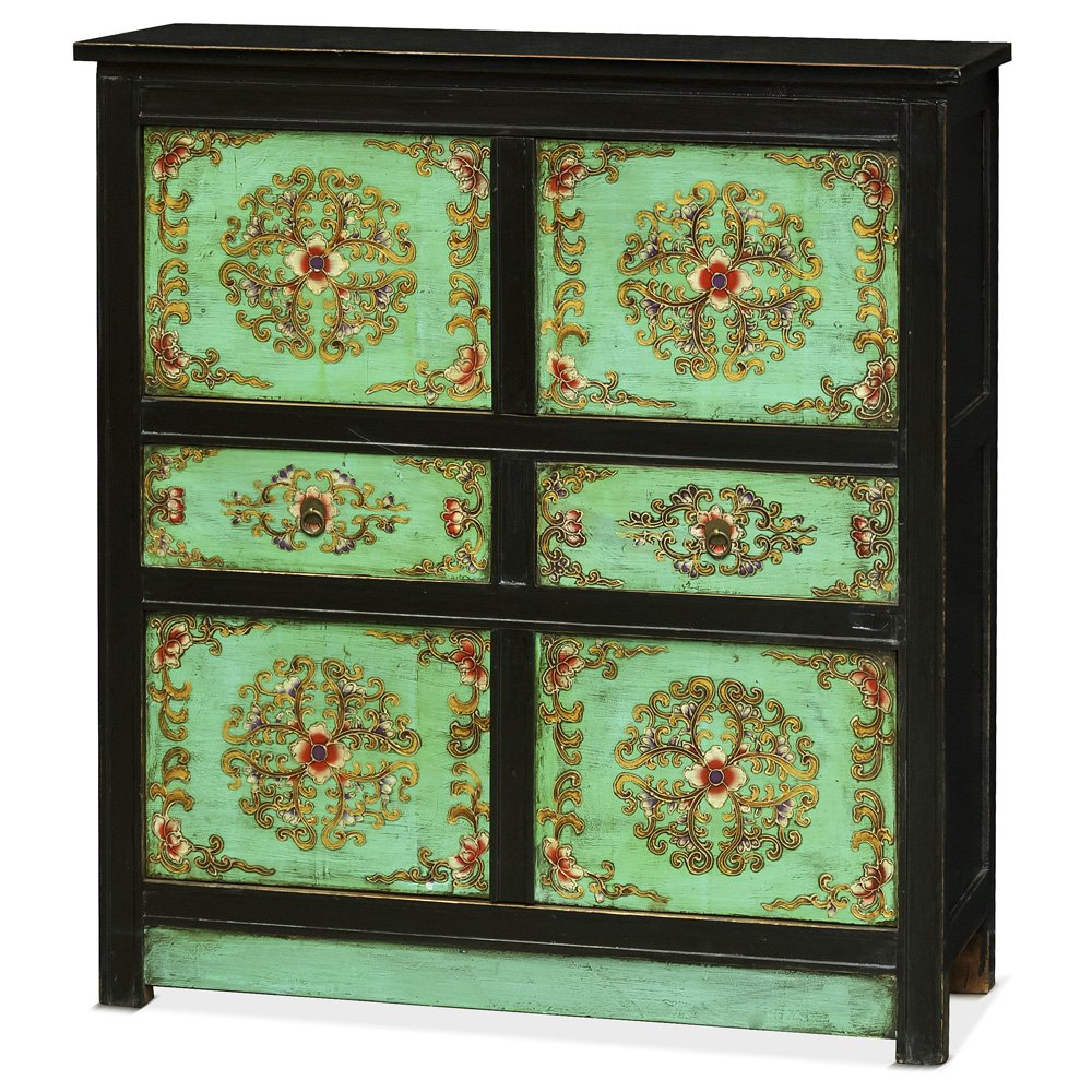 China Furniture Online Elm Wood Chest with Distressed Tibetan Style Floral Pattern 0