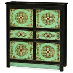 China Furniture Online Elm Wood Chest with Distressed Tibetan Style Floral Pattern