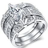 MABELLA Trio Sterling Silver Cubic Zirconia Cz Marquise Wedding Ring Set Anniversary Gifts for Women