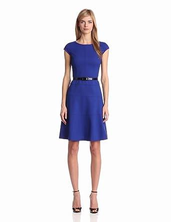 Anne Klein Women's Cap Sleeve Scoopneck Solid Dress,Klein Blue,2