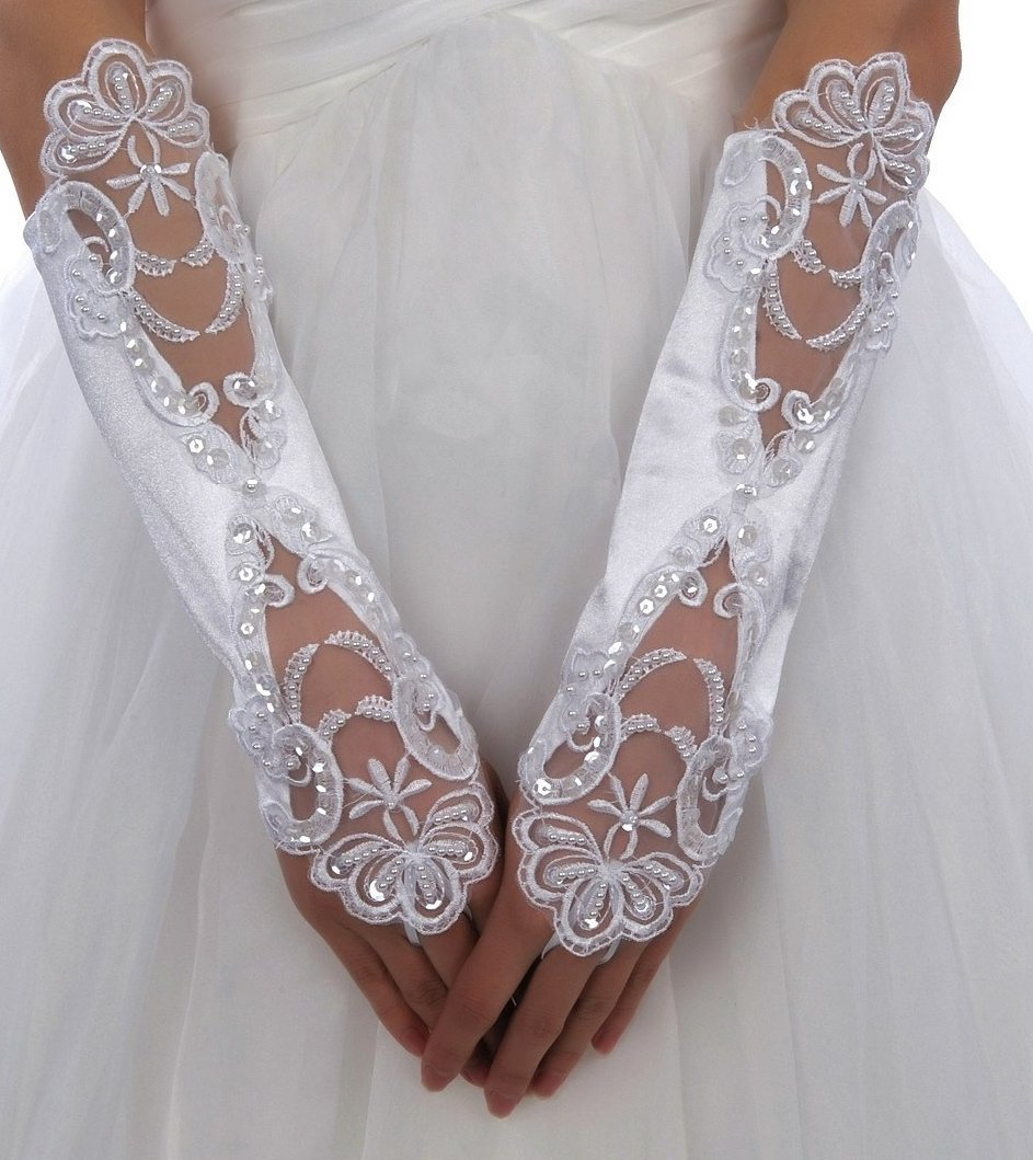 White Or Ivory Fingerless Lace Pearls Wedding Gloves with Pearl G7