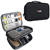 BUBM Adjustable Gadget Organizer, Ultra-compact Electronics Travel Organizer Bag for Chargers,Cables, Cords,Plugs, Memory Cards and More-Fits for iPad Mini, (Medium, Black) (Color: M,Black, Tamaño: M)