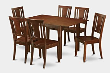 East West Furniture PSDU7-MAH-W 7-Piece Kitchen/Dinette Table Set