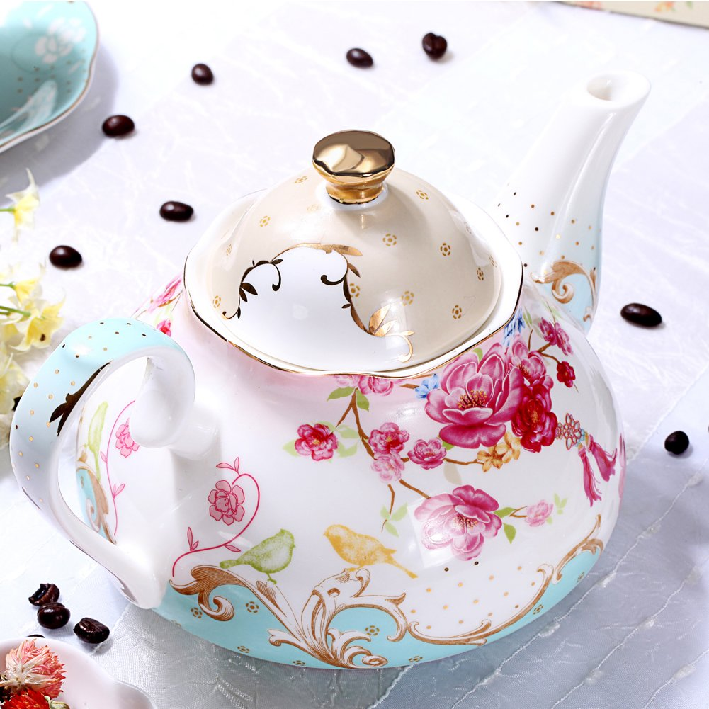 AWHOME Bone China Teapot Vintage Royal Style Red Floral -4 Cup 1